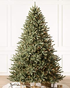 Balsam Hill - Amazon Exclusive- 7ft Premium Pre-Lit Artificial Christmas Tree Classic Blue Spruce with Clear Incandescent Lights Includes Storage Bag, and Fluffing Gloves