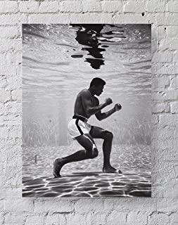 MeiMeiZ Muhammad Ali Poster Standard Size | 18-Inches 24-Inches | Muhammad Ali Underwater Boxing Sports Posters Wall Poster Print