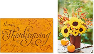 American Greetings Orange and Sunflower Thanksgiving Cards, 6-Count (6143612)