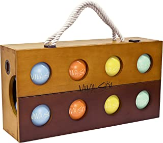 Viva Sol Premium Resin Bocce Ball Set with Wooden Case for Outdoor Play with Two to Eight Players