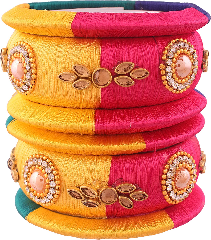 I J ewels Traditional Gold Plated Threaded Bangles for Women (ADB149)