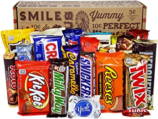 VINTAGE CANDY CO. CHOCOLATE LOVERS FULL SIZE CANDY BAR SNACK GIFT BASKET - PERFECT For Adult, College Student, Military, T...