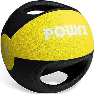 POWRX Medicinboll med handtag professionell 3kg; 4kg; 5kg; 6kg; 7kg; 8kg; 9kg; 10kg I viktboll gymkvalitet inkl. gratis PD...