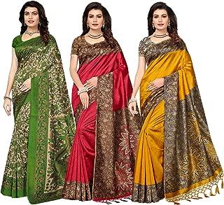 ishin Women's Silk Combo of 3 Saree (Combosr-19018_Multi Color_ Free Size)