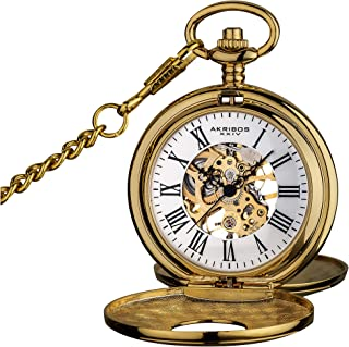 """Akribos XXIV""""Bravura"""" Mechanical Pocket Watch - Mechanical Hand-Wind Movement On a Skeleton Dial Comes with Cover and Chain - AK609"""