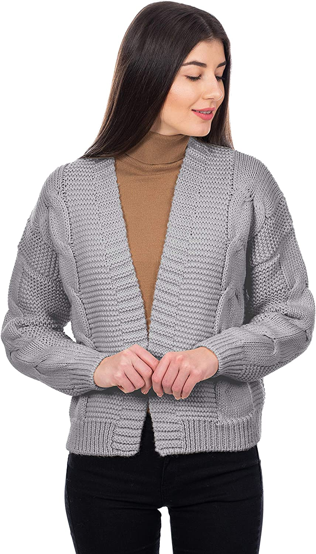 SAOL Irish Cardigan Sweater for Women Soft Merino Wool Blend Cable Knit Open Boyfriend Large Coat