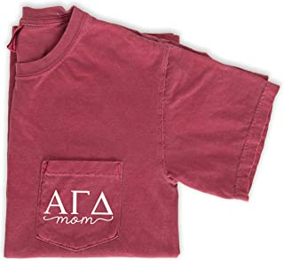 Alpha Gamma Delta Mom Shirt Sorority Comfort Colors Pocket Tee