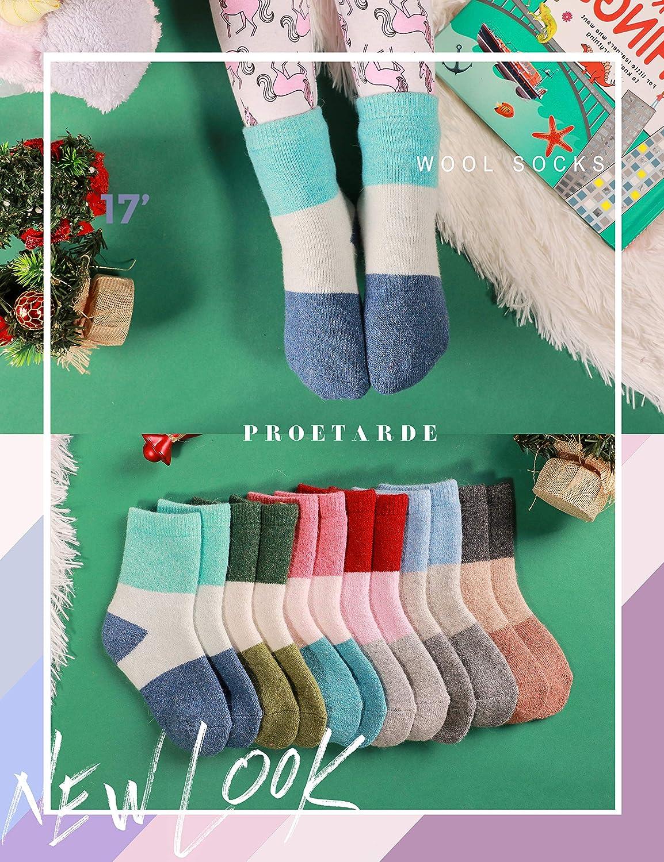 ProEtrade Chaussettes en laine pour enfants 6 paires de chaussettes dhiver chaudes et amusantes
