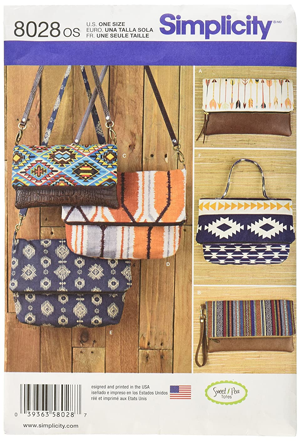 Simplicity US8028OS Patterns Clutch, Wristlet and Purse in Two Sizes Size: Os (One Size), 8028