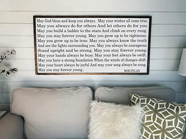 Forever Young Lyrics Bob Dylan Sign Farmhouse Decor Entryway Decor Living Room Sign Wood Wall Art Farmhouse Sign Forever Young