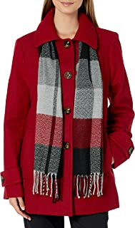 LONDON FOG Women's Single-Breasted Wool Blend Coat with Scarf