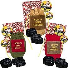 North Pole Enterprises Inc. Santa's Naughty List Set - Bundle Includes Lump of Coal in Bag with Santa's Naughty List Button Pin in Designer Gift Bag (Set of 3)
