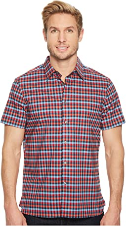 Short Sleeve Stretch Checkered Plaid Shirt
