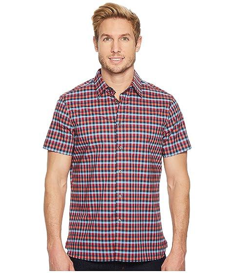 perry ellis short sleeve stretch checkered plaid shirt