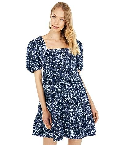 Madewell Poplin Puff-Sleeve Tiered Babydoll Dress in Paisley Garden
