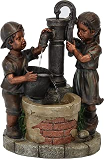 Sunnydaze Outdoor Water Fountain Jack and Jill at Farmhouse Pump and Well, Garden & Yard Waterfall Feature, 24-Inch