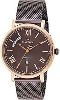Naviforce Men's Brown Dial Stainless Steel Mesh Analog Watch - NF3006-RGCE