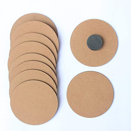 IVEI DIY MDF Wood Sheet Round Craft Magnet - Plain MDF Fridge Magnet Blanks Cutouts - Set of 10 with 3mm - 3in Diameter for Painting Wooden Sheet Craft, Decoupage, Resin Art Work & Decoration