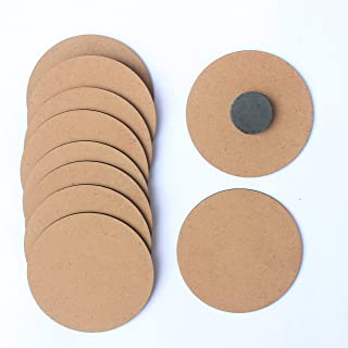 IVEI DIY MDF Wood Sheet Round Craft Magnet - Plain MDF Fridge Magnet Blanks Cutouts - Set of 10 with 3mm - 3in Diameter fo...