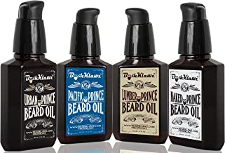 Premium Prince Beard Oils Variety Set Pack Bundle of Full size 2 oz Lumber Pacific and Urban Prince Scents and Naked Prince Scent Fragrance Free Gift Set Bundle Kit