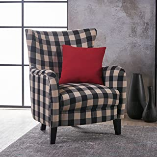 Christopher Knight Home Arador Fabric Club Chair, Black/White Plaid