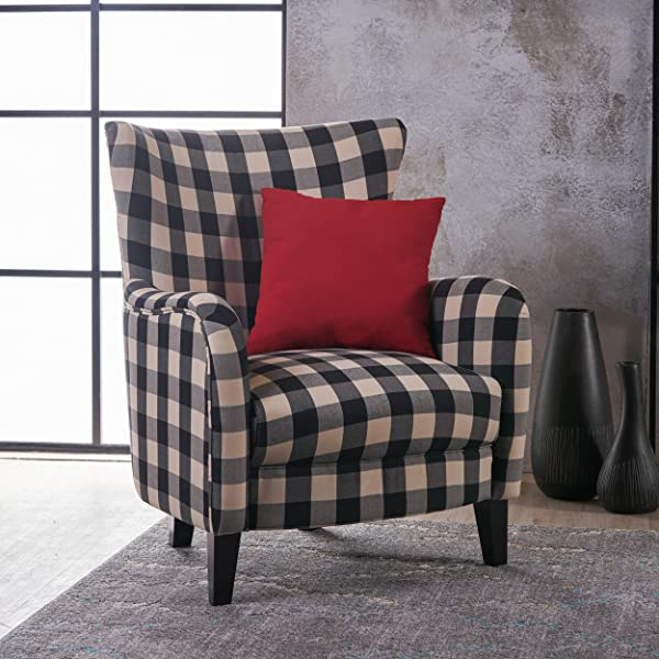 Christopher Knight Home 301061 Arador Fabric Club Chair Black White Plaid