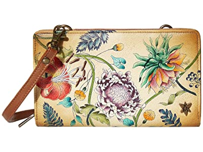 Anuschka Handbags Cell Phone Crossbody Wallet 1149 (Caribbean Garden) Handbags