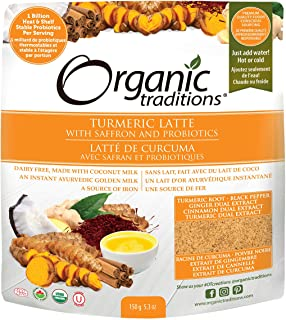 Organic Traditions Turmeric Latte with Probiotics and Saffron, 5.3 oz (150 g)