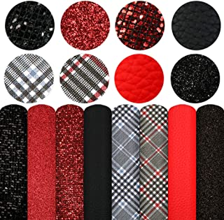 """Plaid Pattern Printed Faux Leather Sheets 8Pcs/Set 7.7"""" x 12.9""""(20cm x 33cm) Black Red Mixed Chunky Glitter Faux Leather F..."""
