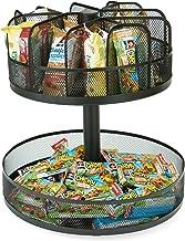 Mind Reader SNACKMESH-BLK Lazy Susan 2 Tier Granola bar & Snack Organizer, 13.75 x 14.25 High, Metal Mesh