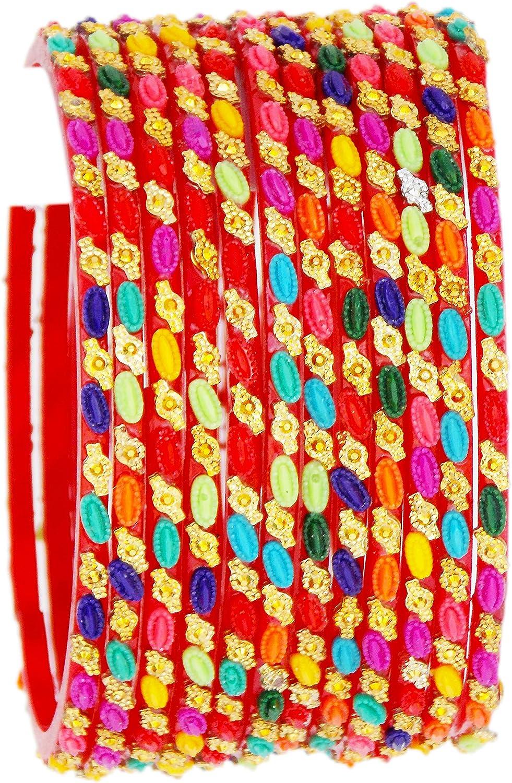 JD'Z Collection Indian Glass Bangles Set Multi Color Bangles Bracelet Fashion Wedding Wear Design Glass Bangles Set of 12