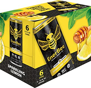 EnerBee Organic Sparkling Energy Drink, Honey Lemon Green Tea, 12-Ounce (Pack of 6)