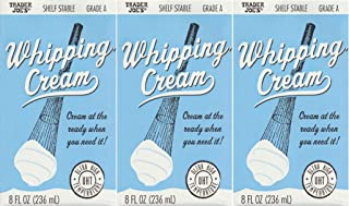 3 pack Trader Joe's Shelf Stable Tetra Grade A Whipping Cream 8 FL Oz (236 mL) Cream at the Ready When You Need It (UHT) Room Temperature, 3 Pack