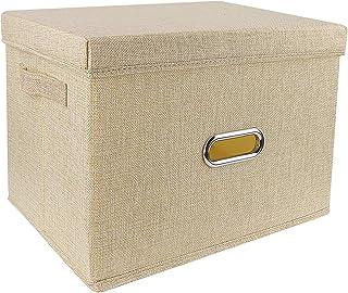 Redmoo Boîte de Rangement, Panier de Rangement Pliable en Tissu de Lin, avec Couvercle, boîte de Rangement Pliable pour Ar...