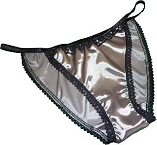 Shiny SATIN string bikini MINI TANGA panties SILVER GRAY with black lace 6 sizes Made in France