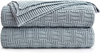 Longhui bedding Large Grey Blue Cotton Knit Throw Blanket for Couch Sofa Bed - Home Decorative Soft Cozy Sweater Woven Fall Cable Knitted Blankets - Blue Gray 3.4 pounds 60 x 80 Inch