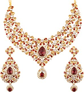 Indian Bollywood Traditional Floral Theme White Rhinestone and Blue Faux Sapphire Bridal Designer Jewelry Necklace Set for Women in Antique Gold Tone