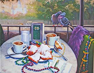 Cafe Dumonde Coffee Biegnet New Orleans Baltas Matted Art Print French Quarter