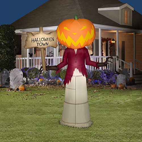 wholesale Gemmy 5' Halloween Inflatable Pumpkin outlet online sale Greeter Holding Halloween Town online sale Sign Indoor/Outdoor Decoration outlet sale