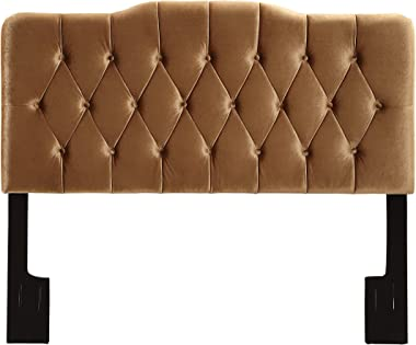 Right2Home Soft Shape, Velvet Bronze Upholstered Queen headboard
