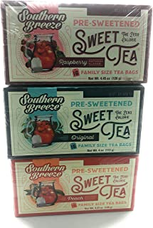Southern Breeze Sweet Tea Family Size Box of 3 Variety, Raspberry, Original, and Peach