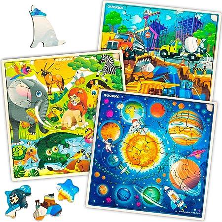 Quokka Puzzle Enfant 3 4 5 6 ans - 3 Jeux Enfant 4 ans en Bois - Puzzle 30 pièces Unique avec Animaux, Espace, Planètes, Chantier de Construction