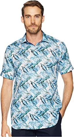 Shaped Fit Palm Fronds Woven Shirt