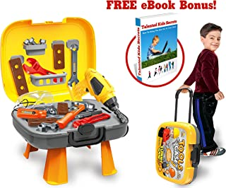 4 in 1 Tool Set 34 + 6 Bonus-Pcs Set of Construction Toys and Accessories for Kids & Toddlers Ages 3+, Realistic STEM Innovation &Learning for Boys & Girls! Bonus Ebook: Talented Kids Secrets