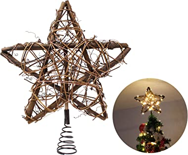 Joiedomi 50 LED Rattan Star Tree Topper for Christmas Tree Decorations, Home, Party, Wedding, Bedroom Decor Indoor Decor