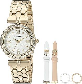 Anne Klein Women's AK/3140INST Swarovski Crystal Accented Gold-Tone Bracelet Watch with Interchangeable Bezel and Strap Set