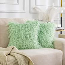 Kevin Textile Pack of 2 Decorative New Luxury Series Style Mint Green Faux Fur Throw Pillow Case Cushion Cover for Sofa Be...