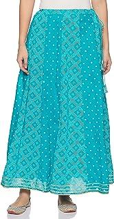 Rangriti Cotton a-line Skirt (RMMETHNIC K3252_Turquoise_Free)