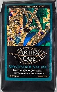 Artifx Cafe Monteverde Natural Costa Rica Coffee - 12 oz, Whole Bean - Nature Friendly - Light Roast