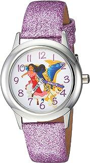 ساعة ديزني للبنات ايلينا أوف أفالور من الستانلس ستيل مع كوارتز مع حزام من الجلد، بنفسجي، 15 موديل WDS000279